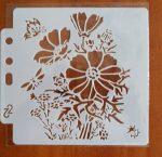 stencil sablon 13*13cm  SS-560 virág